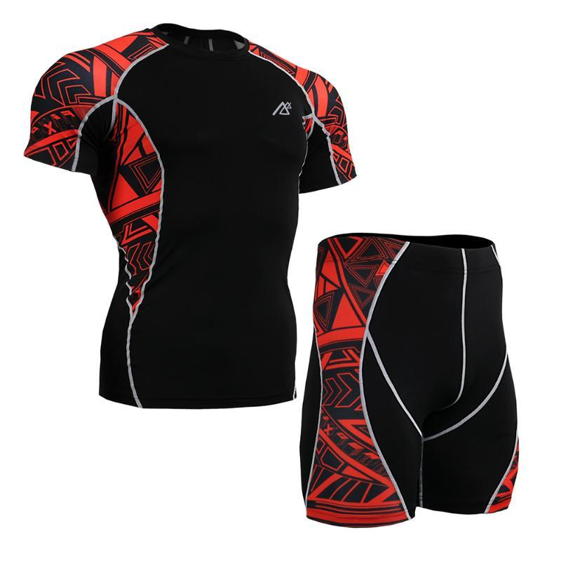 Life on track Men's Sportswear Sport Suit Shirt&Shorts Set Skin Tight Workout Cycling Clothing Sport Wear