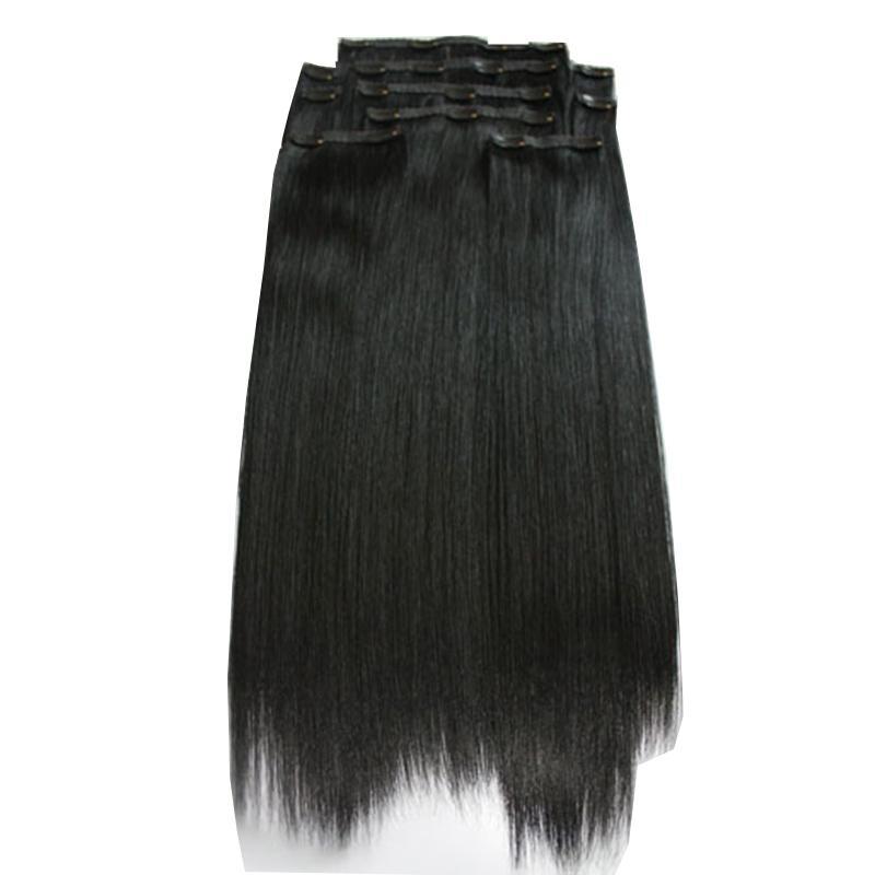 Salon exigeant 22inches JET NOIR # 1 200G / PCS 5CLIPS SUR UNE PIÈCE DE TÉLÉPHÉE Véritable Cheveux Humains Remy One Set GRATUIT DHL