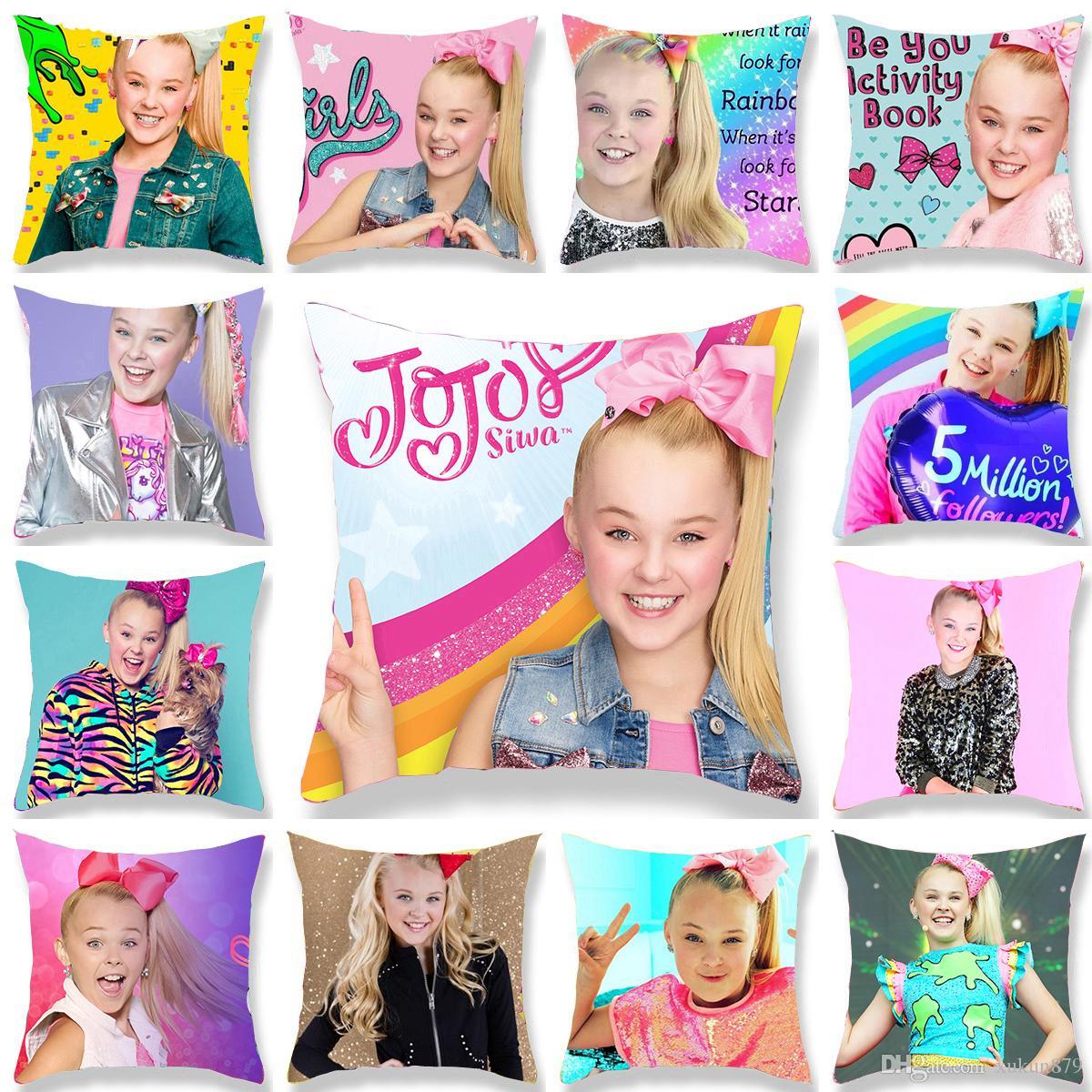 The Little Cute Girl Jojo Siwa JOJO SIWA Happy Pink Girl Printed Polyester Throw Pillow Cover Sofa Home Decor Pillowcase