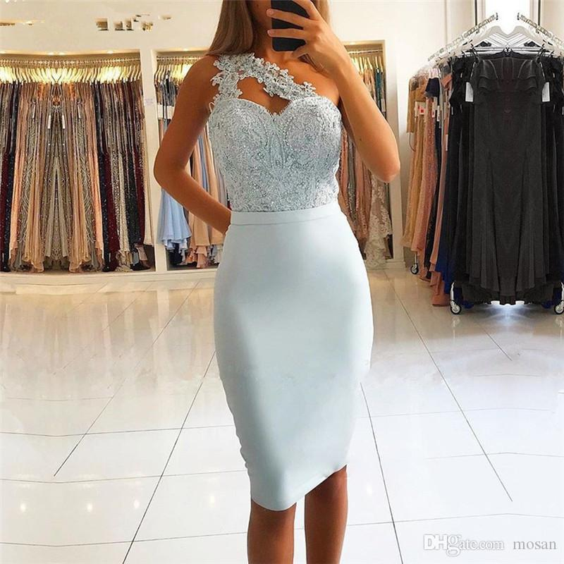 Light Sky Blue Short Knee Length Cocktail Evening Dresses New One Shoulder Lace Appliques Women Formal Party Gowns Homecoming Dress