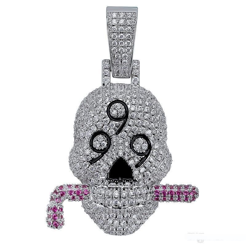 Wholesale Iced Out Lab Diamond 999 Skull Solid Pendant Necklace