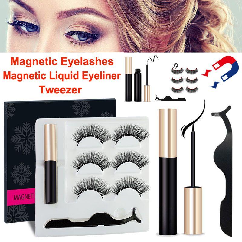 3D visone ciglia eyeliner liquido magnetico con pinzette Set 3 paia ciglia finte magnetica Extension impermeabili visone frusta il trucco Strumenti