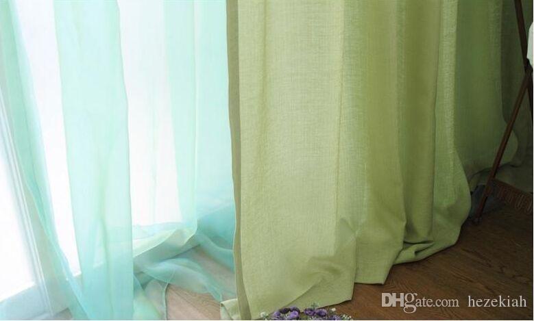 grün Typ1 Mittelmeer Wohnzimmer modernen minimalistischen Erker Nachahmung Leinen Volltonfarbe Vorhangstoff individuelle Fertig