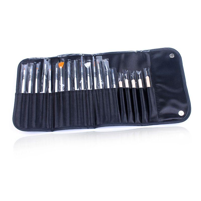 20pcs Nail Art Brushes Set UV Gel Polish Art Design Painting Drawing Dotting Builder Pen Nail Art Salon Tool Kits with Black Bag