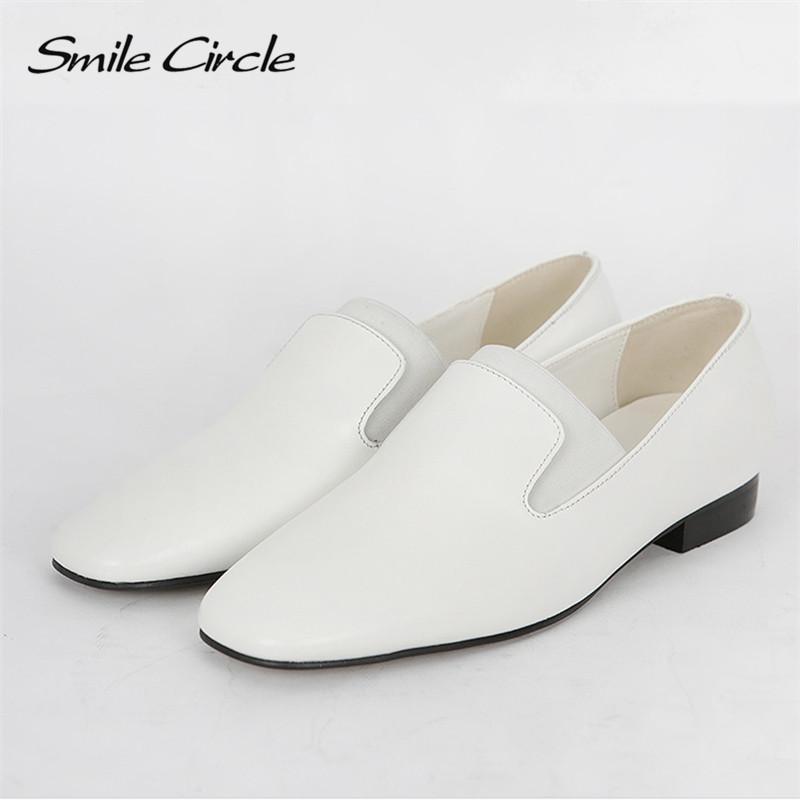 Çember Kayma-on Flats platformu Ayakkabı Kadınlar bahar Moda İngiliz tarzı rahat Düşük topuklu Kare ayak Bayanlar ayakkabı Gülümseme