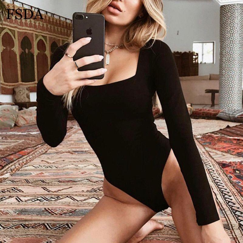 FSDA 긴 소매 광장 칼라 섹시한 바디 수트 여성 화이트 블랙 겨울 가을 겨울 솔리드 캐주얼 퍼플 레이디 바디 슈트 Y200701 니트
