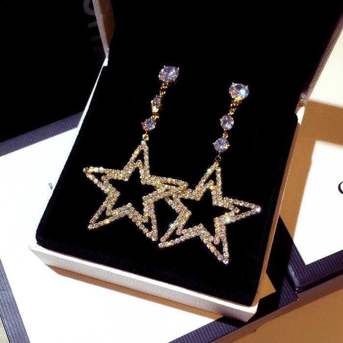 All'ingrosso progettista di lusso scintillante Super Diamond strass carino grande stella ciondola lampadario orecchini gioielli per donna ragazze