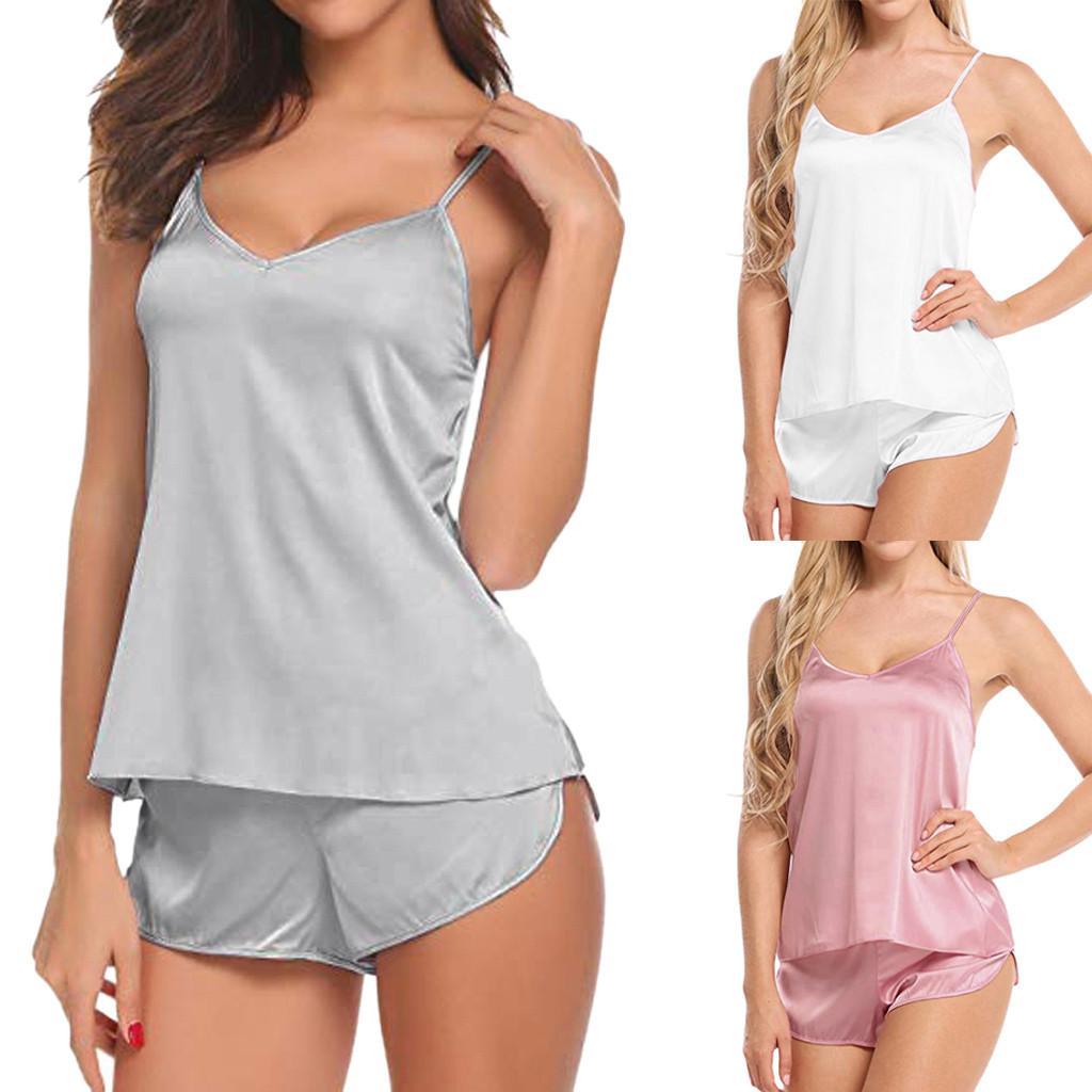 Mulheres Sexy-Lingerie Sleepwear cetim de seda Babydoll Lace Up Roupa de Noite Pijamas Set Casual cor sólida Início Roupas Femininas quente