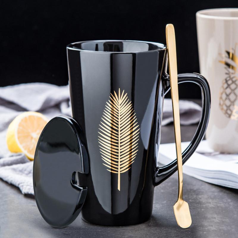Regalo T200506 New Leaf Oro Ceramica Tazza Ufficio tazza di caffè Set Latte Tea Cups creativa Cuore di palma Ananas Breakfast Home Bicchieri per bambini