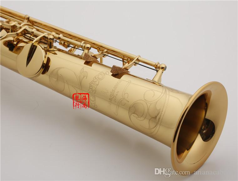 Yanagisawa W010 Soprano Saksafon Pirinç Düz Boru Altın Lake Sax B Durumda Ağızlık Aksesuarları ile Düz Enstrüman