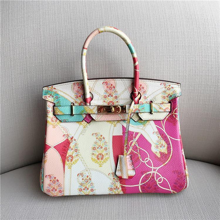 Elegant2019 frente e verso padrão de cor Impressão Senhora Cabeça de Camada couro portátil Pacote Diagonal