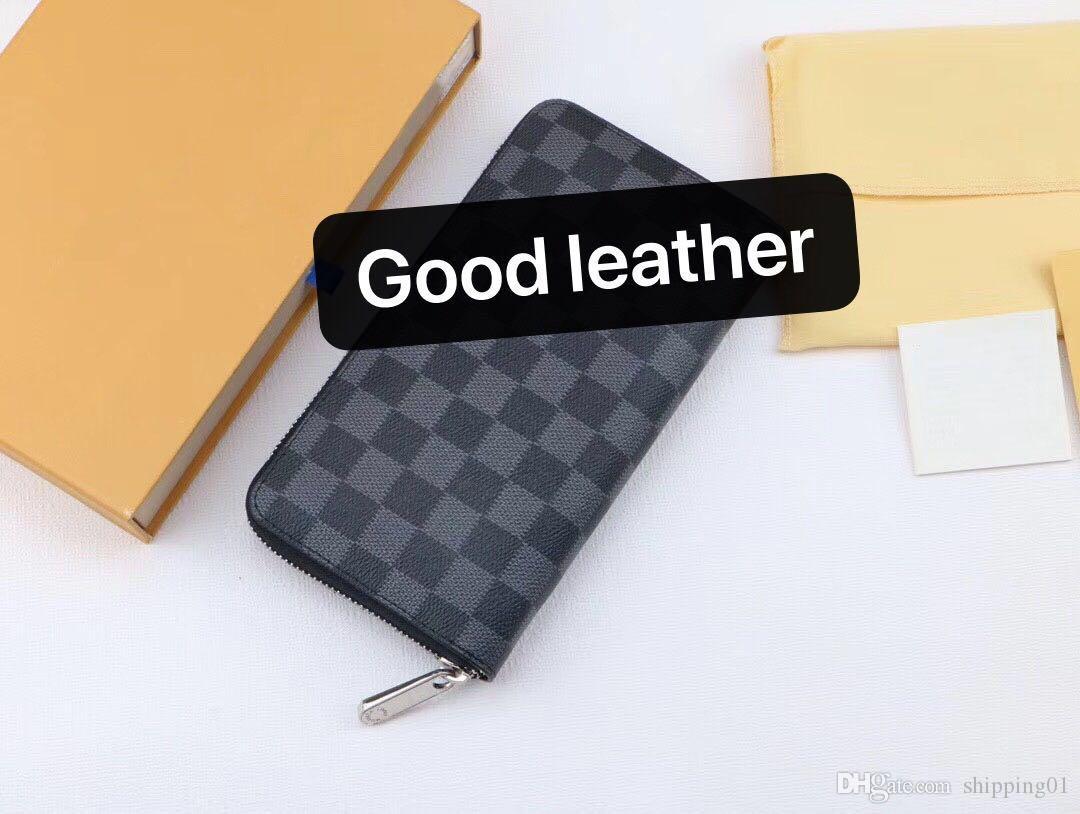 2020 새로운 남성 지갑 가죽 선물 상자 검은 색과 갈색 지갑 여성 긴 스타일 지갑 지갑 카드 홀더를 회색 -