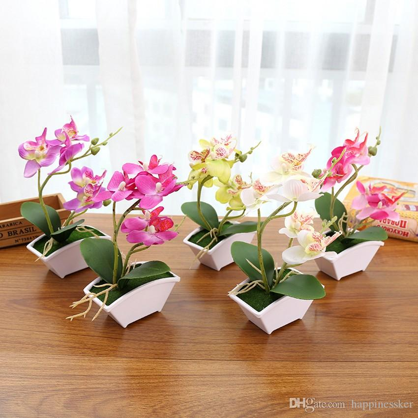 Phalaenopsis em vaso de flor de orquídea artificial com folha de espuma e vaso de plástico simulação de decoração da flor para a mesa em casa 20 Conjunto