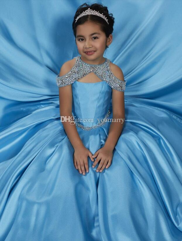New Girls Pageant Dresses 2019 New Style Beaded Crystal Satin Flower Girl Gowns Formal Party Dress For Teens Kids