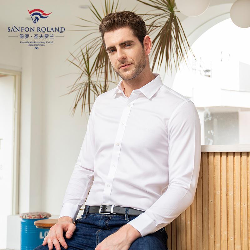 ملابس أعلى نوعية الرجال الدرجة العليا القطن الخالص موانئ دبي جاهزة للارتداء قميص رجالي كم طويل تريم الأعمال الصلبة اللون اللباس الرسمي قمصان DP000