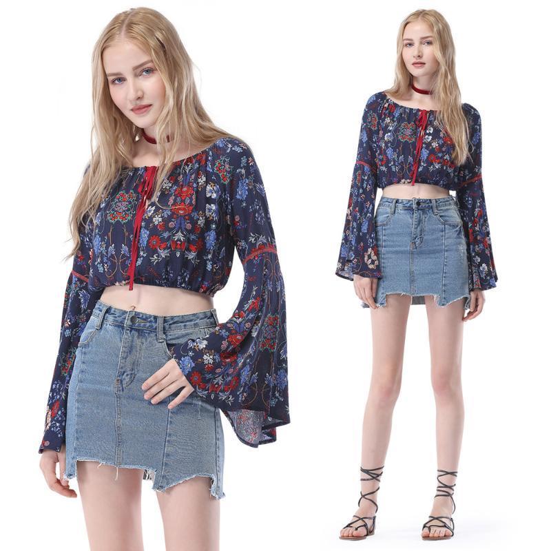 CANTONEE más el tamaño floral impresa de las mujeres camisa larga de la llamarada verano de la manga de la blusa de la flor de impresión de la moda camisas Superior Femenina Blusas T81