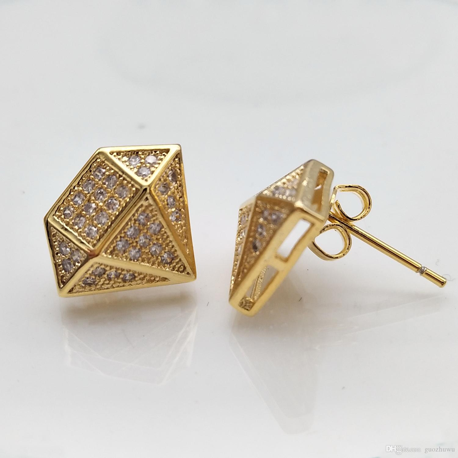New Fashion 18K Gold and White Gold Princess Cut Diamond Mens Earring Studs personalized Hip Hop CZ Cubic Zirconia Stud Earrings Jewelry