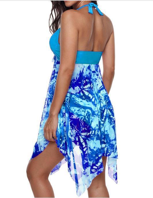 الأزهار المطبوعة عارية الذراعين ملابس النسائية مايوهات سباحة السيدات زهرة نحيل ملابس 5XL مثير 2PCS إمرأة بيكيني الصيف