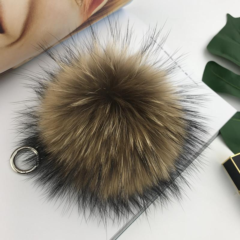 "15cm / 6"" Real Natural Brown Raccoon Fur bola Pompom Charme KeyChain Chaveiro Acessórios de telefone da bolsa borlas"