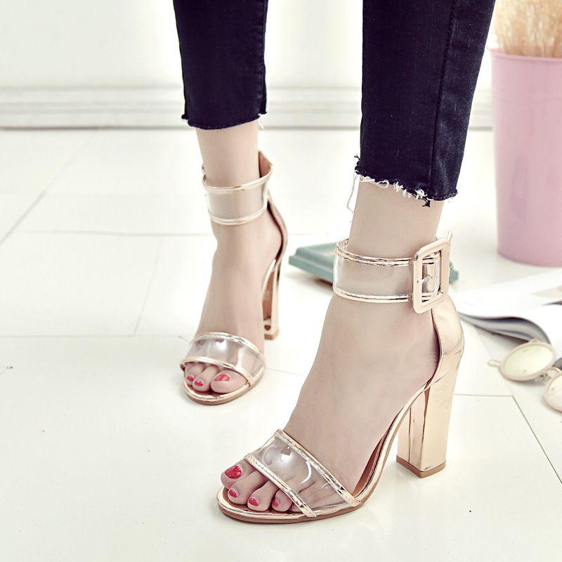 Mujeres de la moda de las sandalias de tacón grueso sexy punta abierta de gamuza transparente gladiador del verano de la sandalia de los zapatos huecos 4 colores