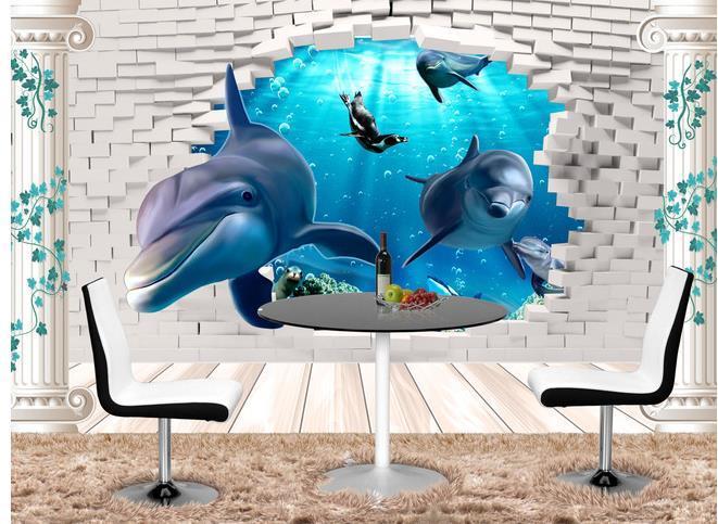 Tapeten Hauptdekor für Kinder 3D-Unterwasser Dekoration Malerei Wand TV Hintergrund Welt Delphin