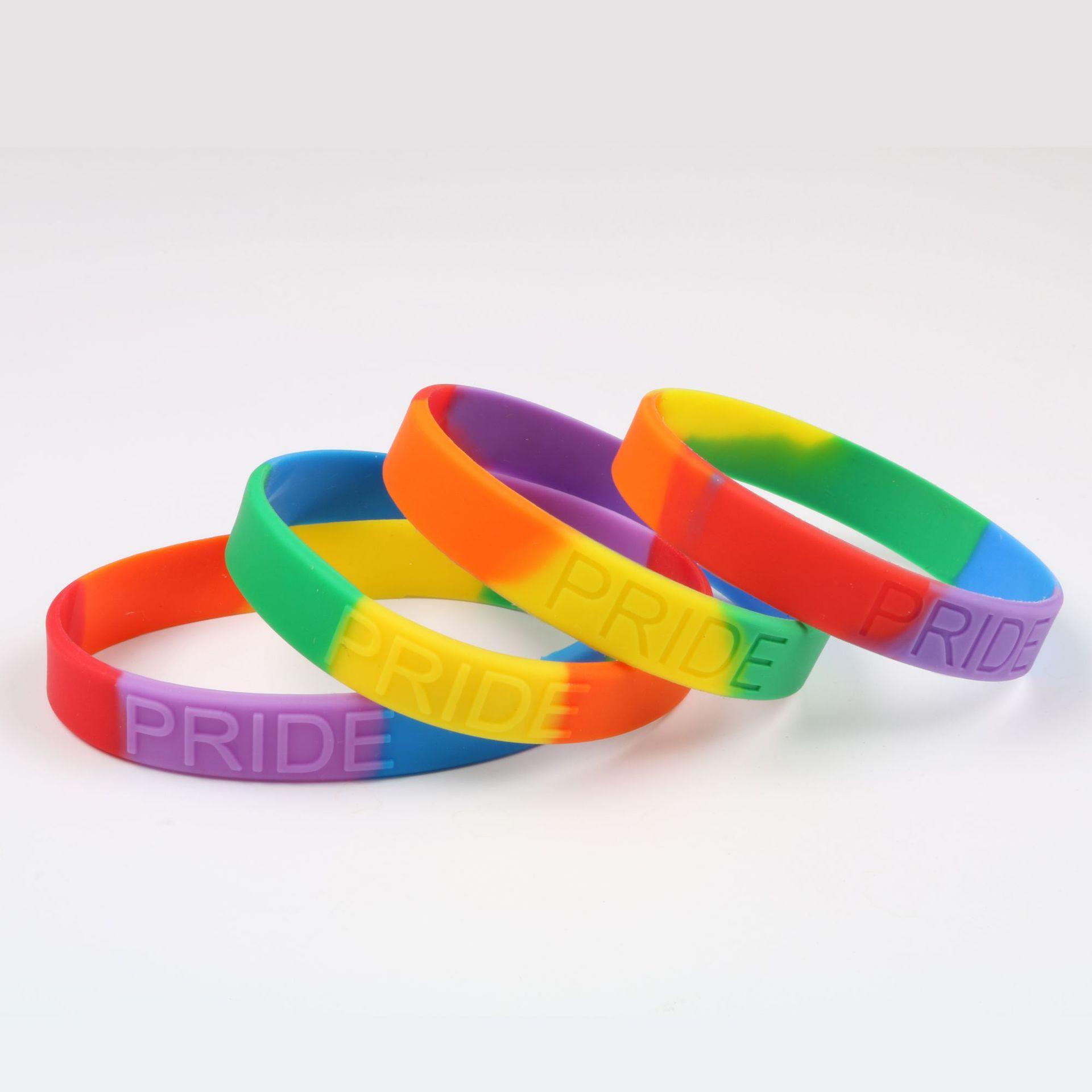Силиконовый браслет Радуга Gay Pride Браслет Красочные браслет Лоскутная цвета Браслеты шарма верхнего качества оптовой 2020