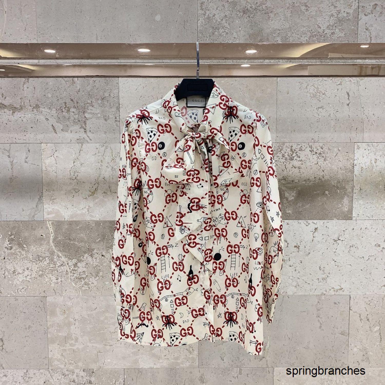 New spring and summer collection Shirt Coat Fashion Women Long Sleeve Graffiti printed silk shirt 040503