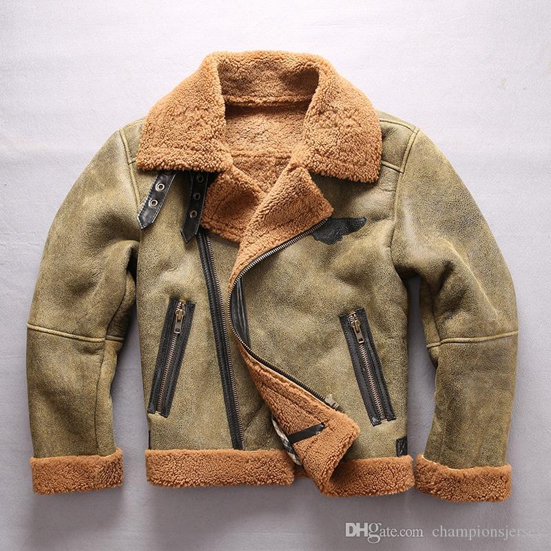 AVIREXFLY zíper Oblíqua dos homens da Força Aérea terno de vôo de couro de Ovelha e casacos de peles Sherpa Aborígene outwear Quente