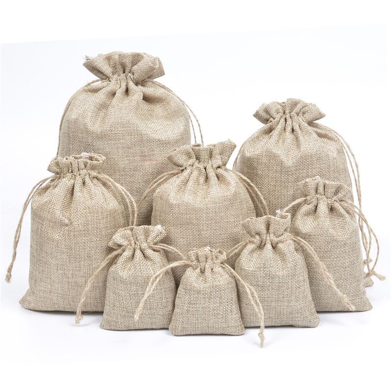 "Burlap Pouch Sack Favor Bag 4/"" x 6/"" Burlap Bags with Natural Jute Drawstring"