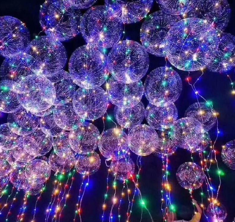 50 pcs Nenhum rugas Balão de Bobo Com 3M LED fio de tira luminoso led balões decoração de casamento brinquedo festa de aniversário st588
