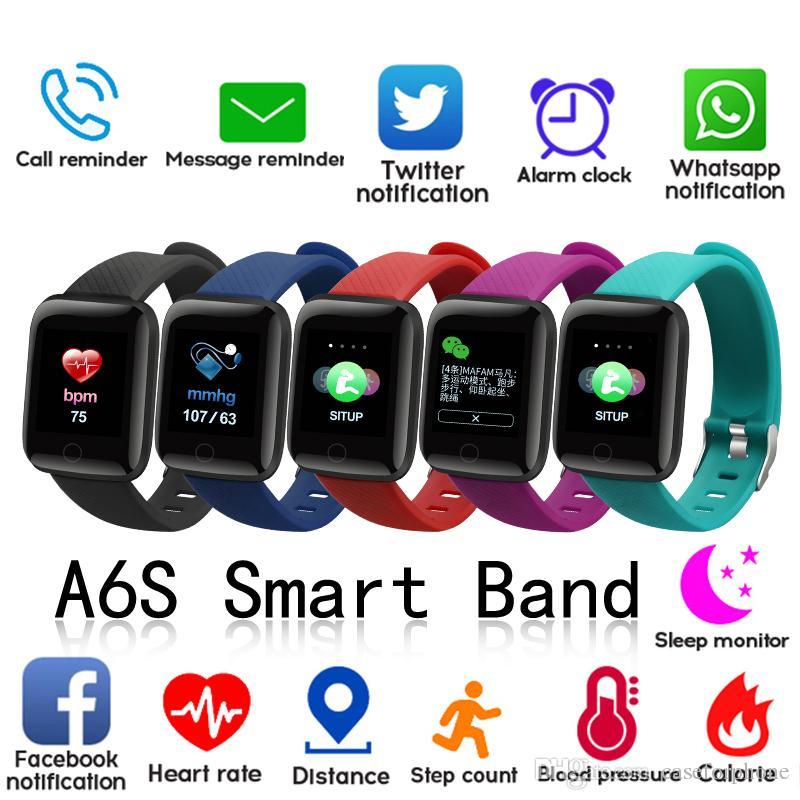 A6S الذكية سوار WristFitness المقتفي رصد معدل ضغط الدم الفرقة الذكية IP67 للماء الرياضة لالروبوت IOS
