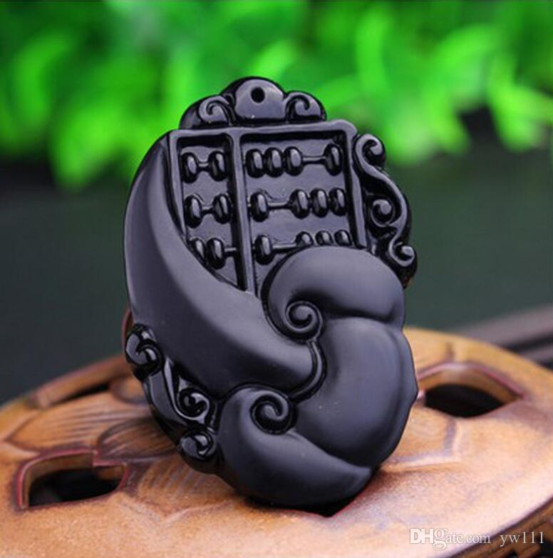 Natural obsidian wishful abacus pendant crystal pendant sweater chain jade pendant men and women