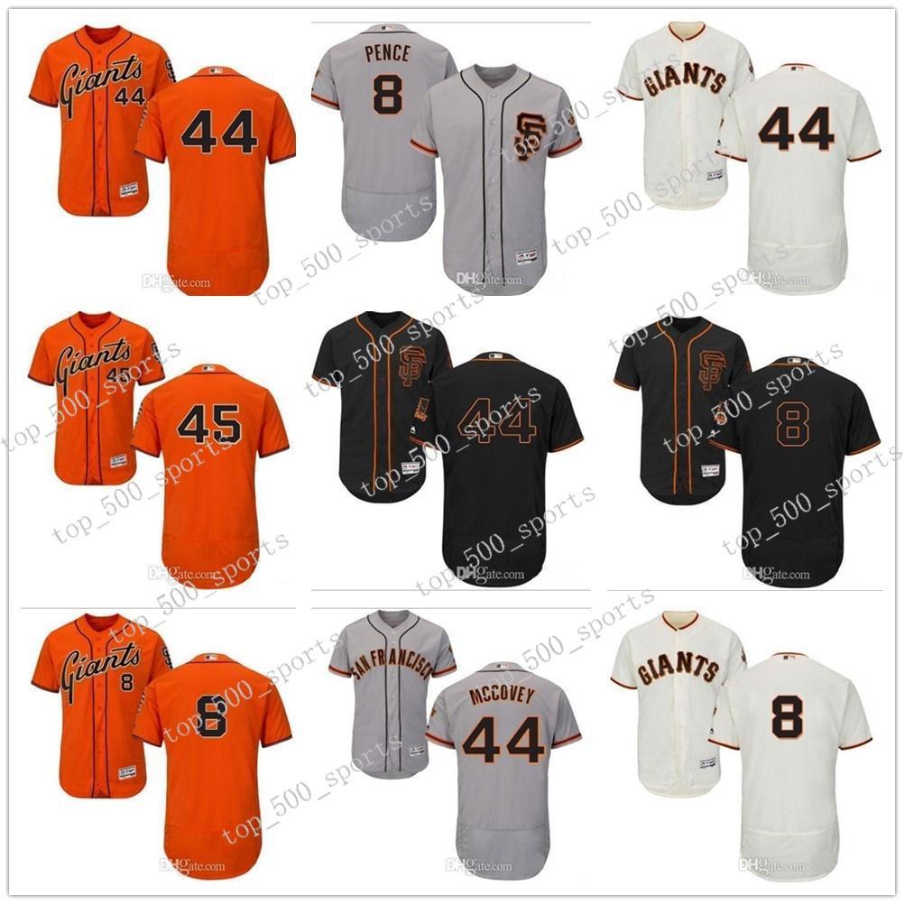 coutume hommes femmes jeunes enfants SF Giants Jersey # 8 Hunter Pence 44 Willie McCovey 45 Matt Moore Accueil Orange Gris Blanc Baseball Maillots