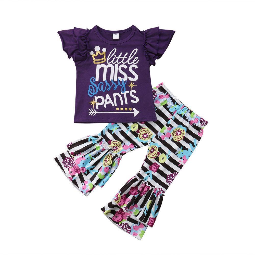 Kinder Outfits Kleidung Mädchen 2019 Sommer Brief Streifen Blume Flare Hosen zweiteilige passende Set Baby Trainingsanzug Modedesigner Anzüge Sets