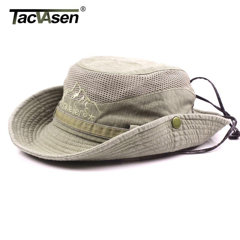 TACVASEN ВОЕННОСЛУЖАЩИХ Тактические Шляпы Шапки ВС Boonie Hat Summer Sun Protection Cap Мужские Safari Army Fish Hunt Шляпы Регулируемая LY191228