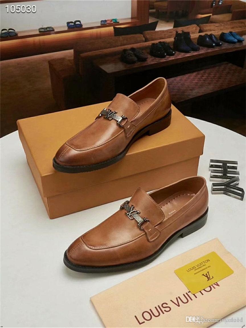 20ss Nueva remiendo Oxford italiana Hombres Brogue la boda del cordón de cuero con los zapatos del partido formal de los hombres de lujo vestido de los zapatos LK-68 MADAOD