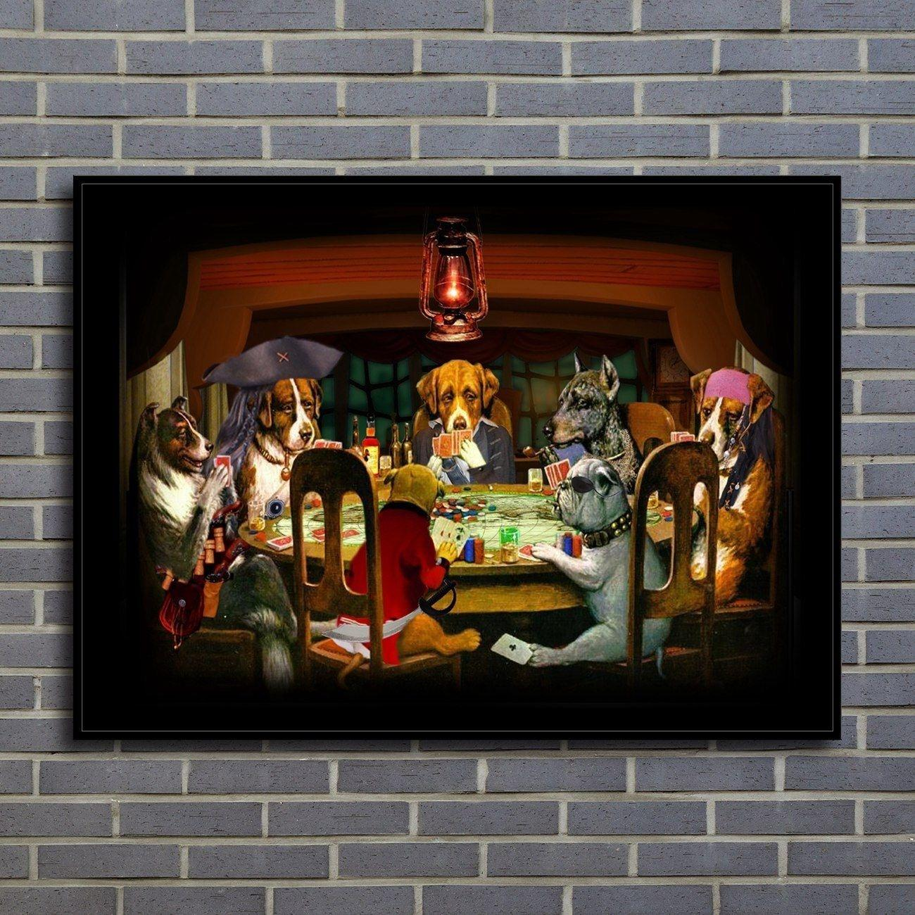 Home Decor Art Wall Dogs Playing Poker Oil painting Picture Printed on canvas