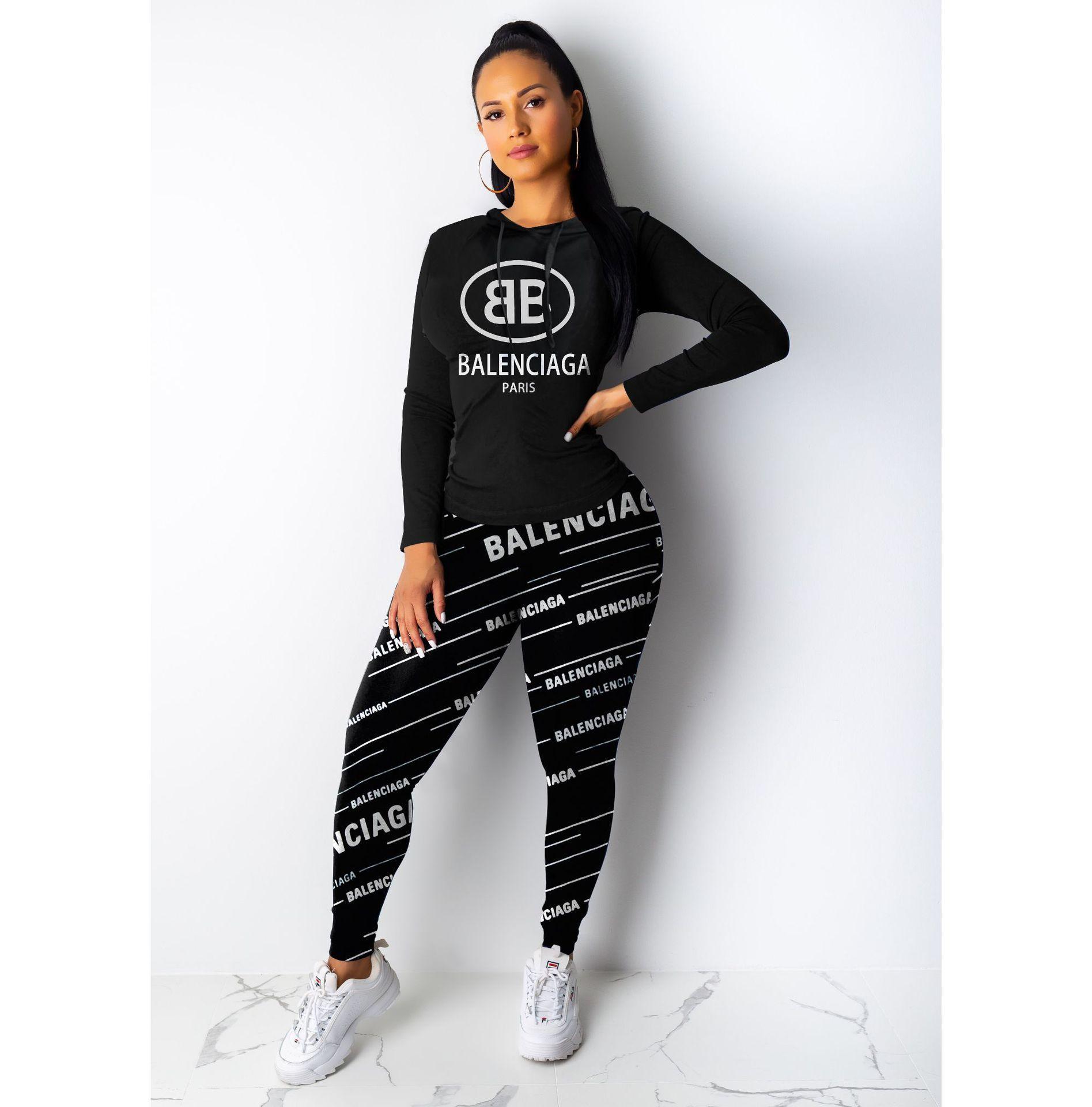 Traje de dos piezas para damas americanas Europea y de cuerpo completo impresión versión Slim ropa deportiva llena de moda salvaje transfronterizo informal fo
