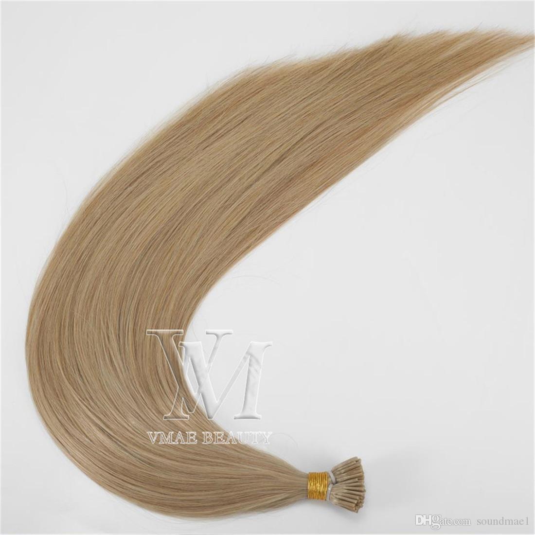 Vente en gros # 27 Drawn unique # 60 Couleur naturelle européenne I-pointe humaine 1 g / brin 50 g précollé Vierge Remy Human Hair Extensions Droit