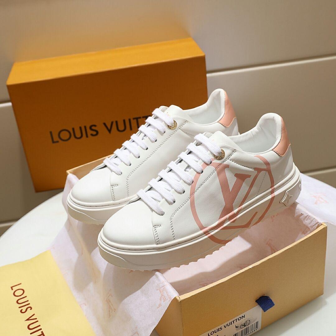 Novo designer de luxo calçados masculinos casuais sapatos femininos casal TIME OUT sneakers sola de borracha 1A64RQ 1A64QE bezerro tamanho grande círculo 35-45