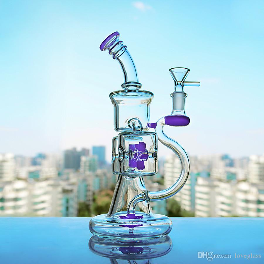 Big Purple Jade-green Glass Water Bong Double Recycler Oil Rigs Propeller Percolater Perc Bong Water Pipes Oil Rigs Bowl 14mm Free 9.5''