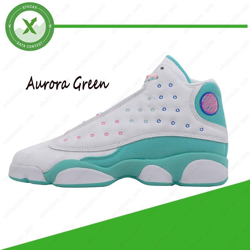 Avec la boîte Taille 36-40 chaussures de basket-ball 13s Aurora vert CNY 13 Flint Green Island chat noir Cour Bred Violet Hyper inversée baskets Designer