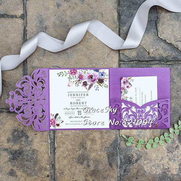 Purple Wedding Party Invitation Card Romantic Flowers Pocket Laser Cut Wedding Invitation Card Rsvp Customized Text Card Kids Birthday Party Packs