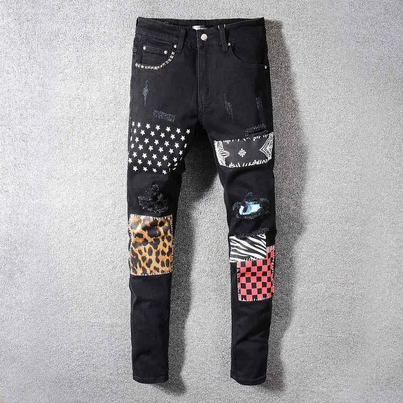 2020 i jeans stracciati locomotiva Uomo Slim Jeans locomotive dei jeans di F11 di alta qualità degli uomini del progettista di moda hip hop degli uomini