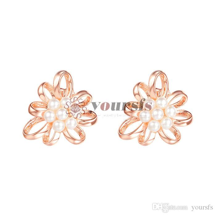 Yoursgs Vintage Style Simulated Pearl Beads Flower Stud Earrings Elegant Japan Korean Fashion Women Jewelry Girl Gifts