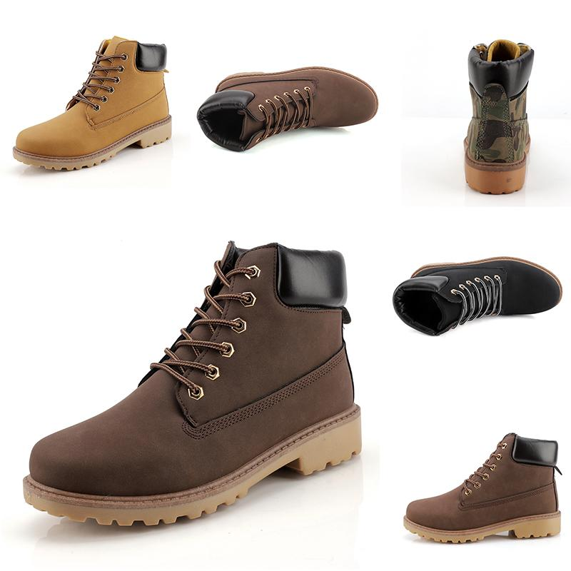 Cheap Fashion Leather Designer boots Lead the trend Men boots Camouflage black brown boots winter autumn Homemade brand Made in China 39-44