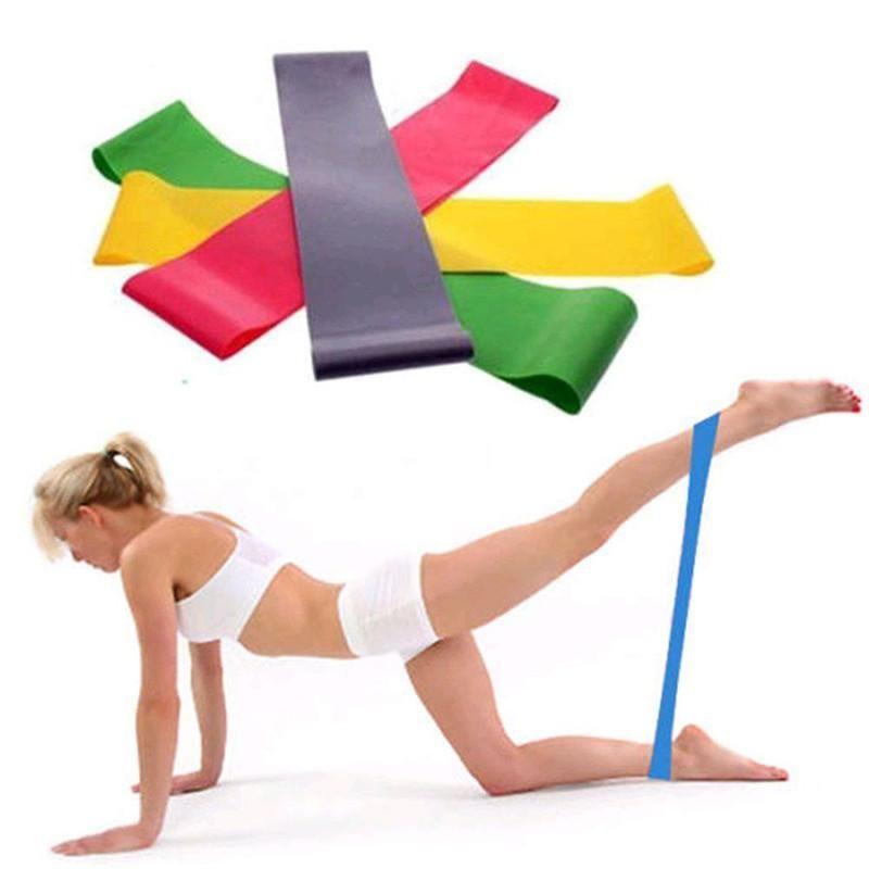 Yoga Direnç Band Döngü Yoga Pilates Ev GYM Fitness Egzersiz Egzersiz Eğitimi Gerginlik Bant 500MM * 50MM * 0.5mm # 2D07