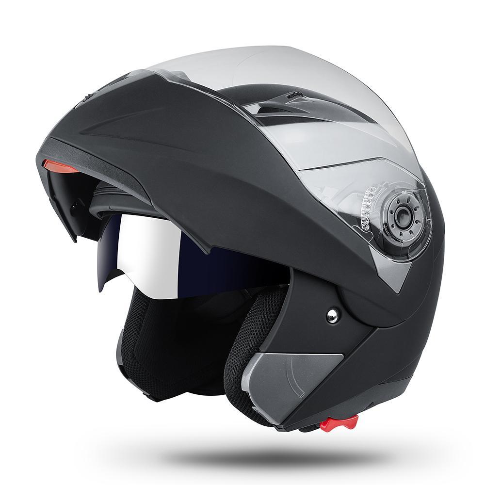 2019 Nova virar para cima do capacete da motocicleta Moto Modular Dual Lens Motocross Moto Helmet Bater completa rosto Capacetes Casco Moto Casque