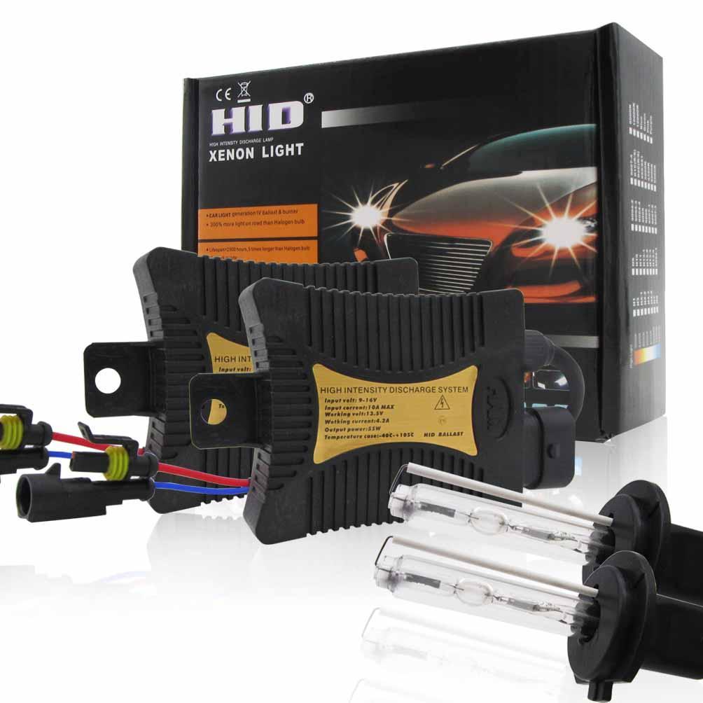 2X 55W H7 السيارات السيارات زينون HID لمبات الضوء العلوي ث / الأثقال تحويل عدة السوبر مشرق وانخفاض استهلاك الطاقة