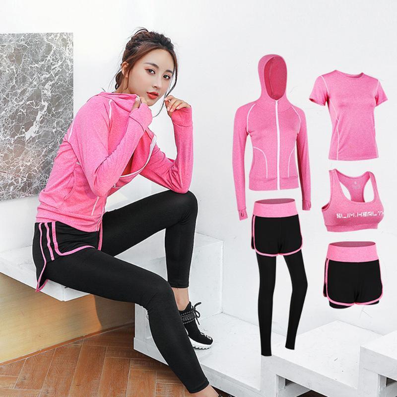 5pcs set Women Gym Fitness Clothes Sweat Suit Tennis Shirt Pants Workout Leggings Sportsuit Quick-dry Clothes Running Yoga